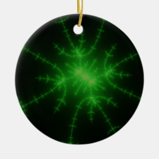 Glowing Green Fractal Explosion Ceramic Ornament