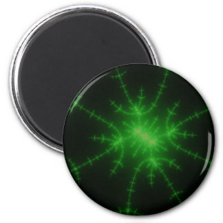Glowing Green Fractal Explosion Refrigerator Magnet