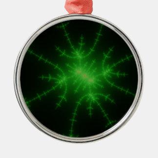 Glowing Green Fractal Explosion Metal Ornament