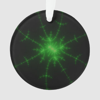 Glowing Green Fractal Explosion Ornament