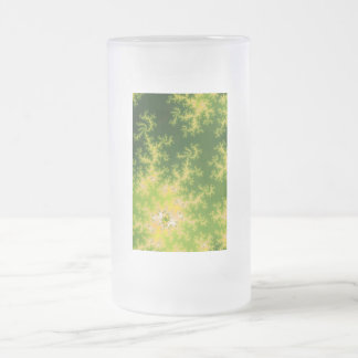 Glowing Green Fractal Frosted Glass Beer Mug