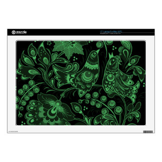 """Glowing Green Hohloma Decals For 17"""" Laptops"""