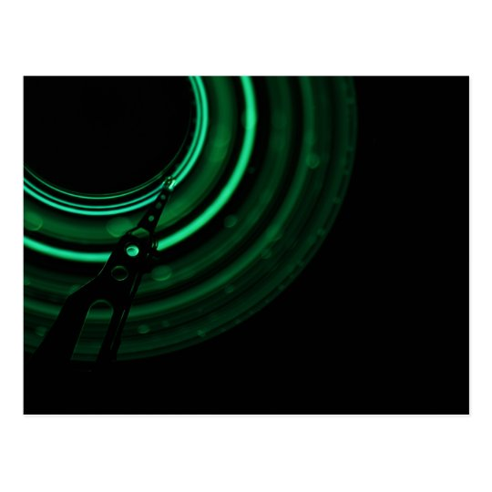 Glowing green mechanics postcard