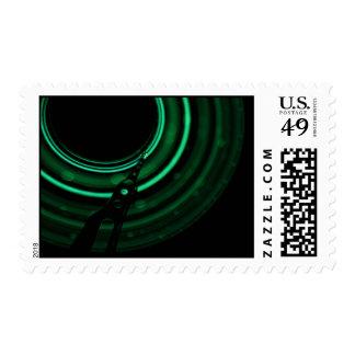 Glowing green mechanics stamps