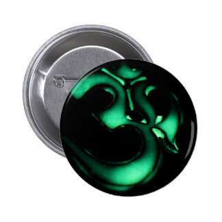 Glowing green Om symbol Pinback Button