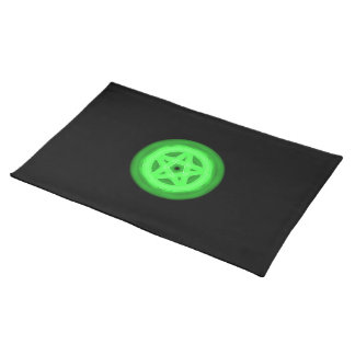 Glowing green pentacle placemat