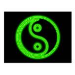 Glowing Green Yin Yang Postcard