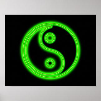 Glowing Green Yin Yang Poster