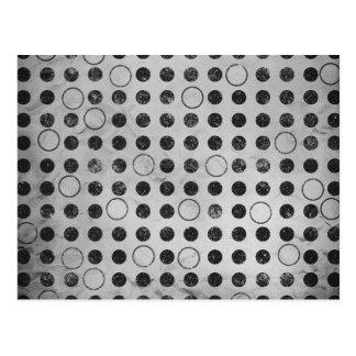 GLOWING GREYS GRAYS WHITE BLACK CIRCLES POLKADOTS POSTCARD