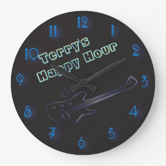 Glowing Guitar Neon Sign Personalized Happy Hour Large Clock