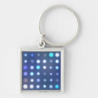 Glowing Halftone Dots Textured Silver-Colored Square Keychain