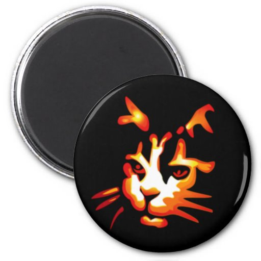 Glowing Halloween Cat Face 2 Inch Round Magnet