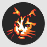 Glowing Halloween Cat Face Classic Round Sticker