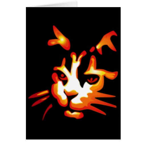 Glowing Halloween Cat Face Greeting Card