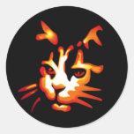 Glowing Halloween Cat Face Round Sticker