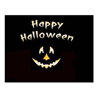 Glowing Halloween Pumpkin Cutout Postcard