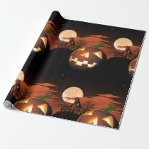 Glowing Halloween Pumpkin Wrapping Paper