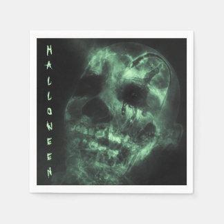 Glowing Halloween Skull in Green Napkin