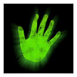 Glowing hand print. poster