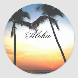 Glowing Hawaii Sunset Classic Round Sticker