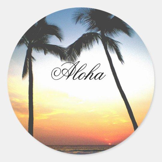 Glowing Hawaii Sunset Classic Round Sticker