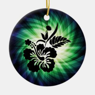 Glowing Hawaiian Flowers Ceramic Ornament