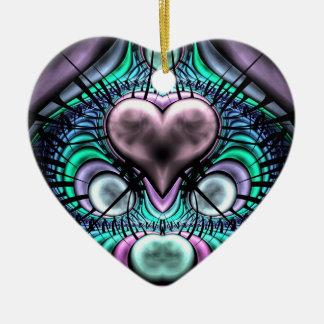 Glowing Heart Fractal Christmas Tree Ornament