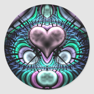 Glowing Heart Fractal Round Stickers