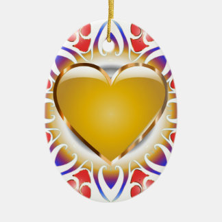 Glowing heart products. ceramic ornament