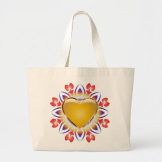 Glowing heart products. large tote bag