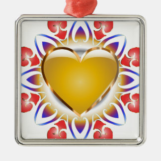 Glowing heart products. metal ornament