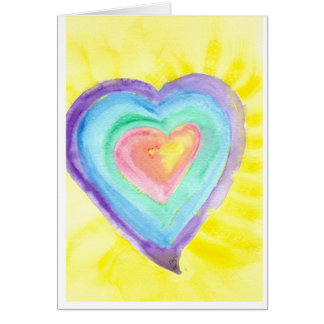 Glowing Heart Stationery Note Card