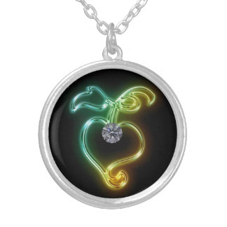 Glowing Heart with Diamond Round Pendant Necklace