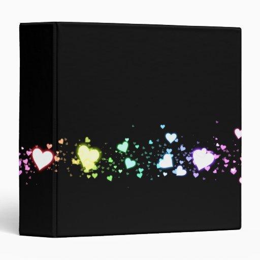 "Glowing Hearts on Black 1.5"" 3 Ring Binders"