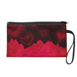 Glowing Hearts Red and Black Wristlet Bag