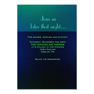 Glowing Hebrew Letters & Notes Mitzvah Invitation