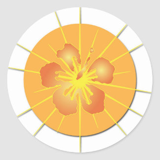 Glowing Hibiscus Classic Round Sticker