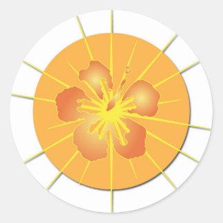 Glowing Hibiscus Classic Round Sticker