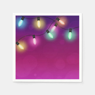 Glowing Holiday Lights Paper Napkin