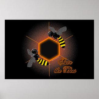 Glowing honeycomb bee poster