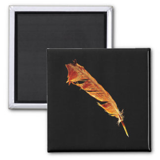 Glowing Hot Raven's Feather Bird-lover Crow design 2 Inch Square Magnet