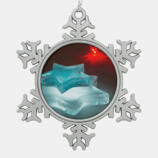 Glowing ice stars snowflake pewter christmas ornament