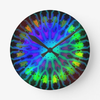 Glowing in the Dark Kaleidoscope art Round Wallclocks