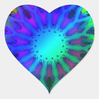 Glowing in the Dark Kaleidoscope art Heart Sticker