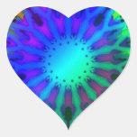 Glowing in the Dark Kaleidoscope art Heart Stickers
