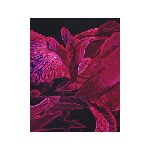 Glowing Iris in Deep Magenta and Black Canvas Print