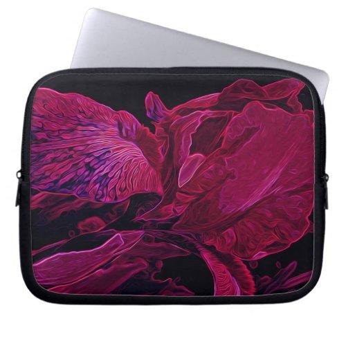 Glowing Iris in Deep Magenta and Black Laptop Sleeve