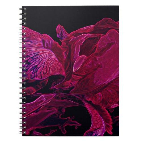 Glowing Iris in Deep Magenta and Black Notebook