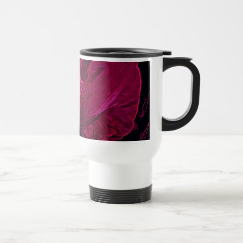 Glowing Iris in Deep Magenta and Black Travel Mug