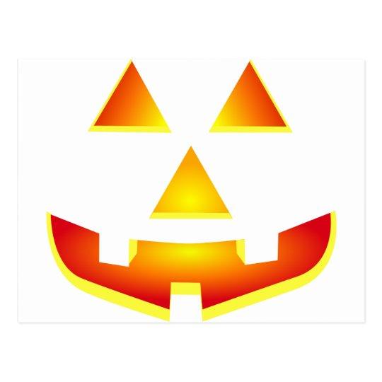 Glowing Jack 'O Lantern Pumpkin Face Postcard